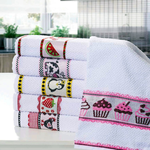 kit 05 toalhas cozinha pano de copa prato atoalhado genova
