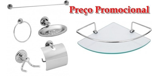 kit 06 acabamentos c50 metal registro banheiro 1/2 x 3/4