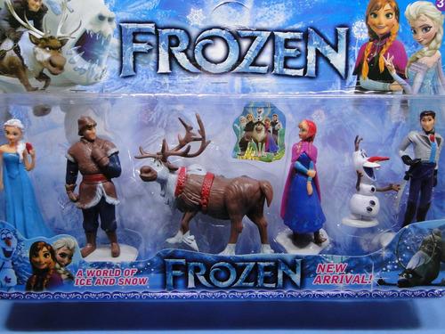 kit 06 bonecos novos frozen na embalagem transparente