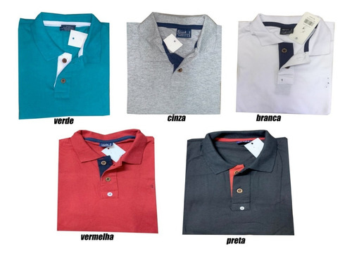 kit 06 camisa masculina gola polo piquet algodão do p ao gg