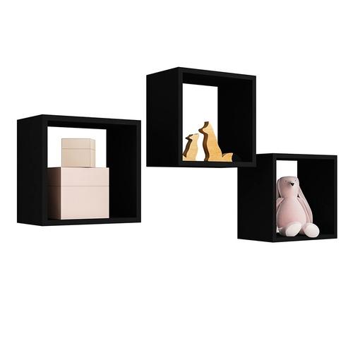 kit 06 nicho decorativo salão barbearia mdp preto 30x30cm