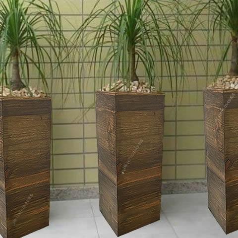 kit 06 vaso cachepot madeira arranjo flores 3547 3548