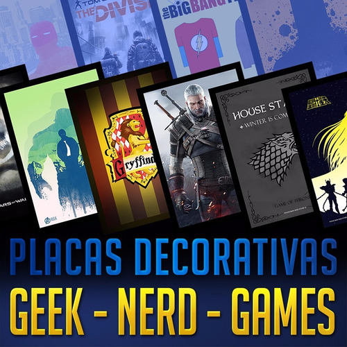 kit 07 placas decorativas geek nerd quarto gamer mangá anime