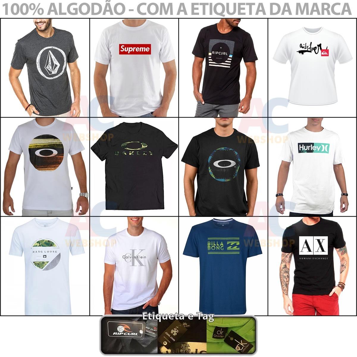 Kit 09 Camiseta Camisa Masculina Baratas Marcas Famosas - R  129 14c96340f0065
