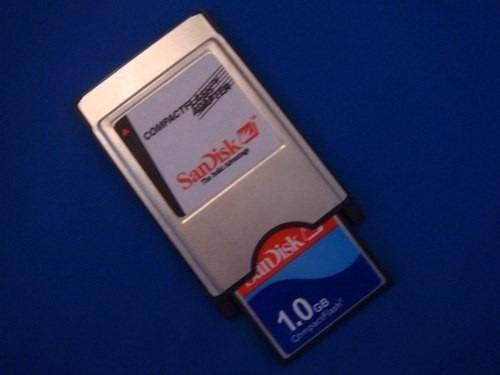 kit 1 adaptador pcmcia compact flash cf + 1 cartão 1gb