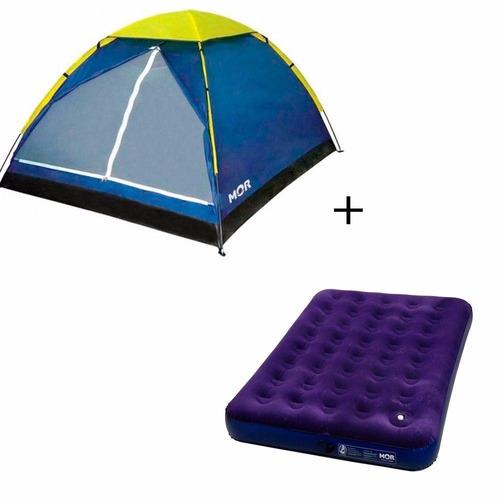 kit 1 barraca iglu 3 pessoas + 1 colchão de casal inflavel