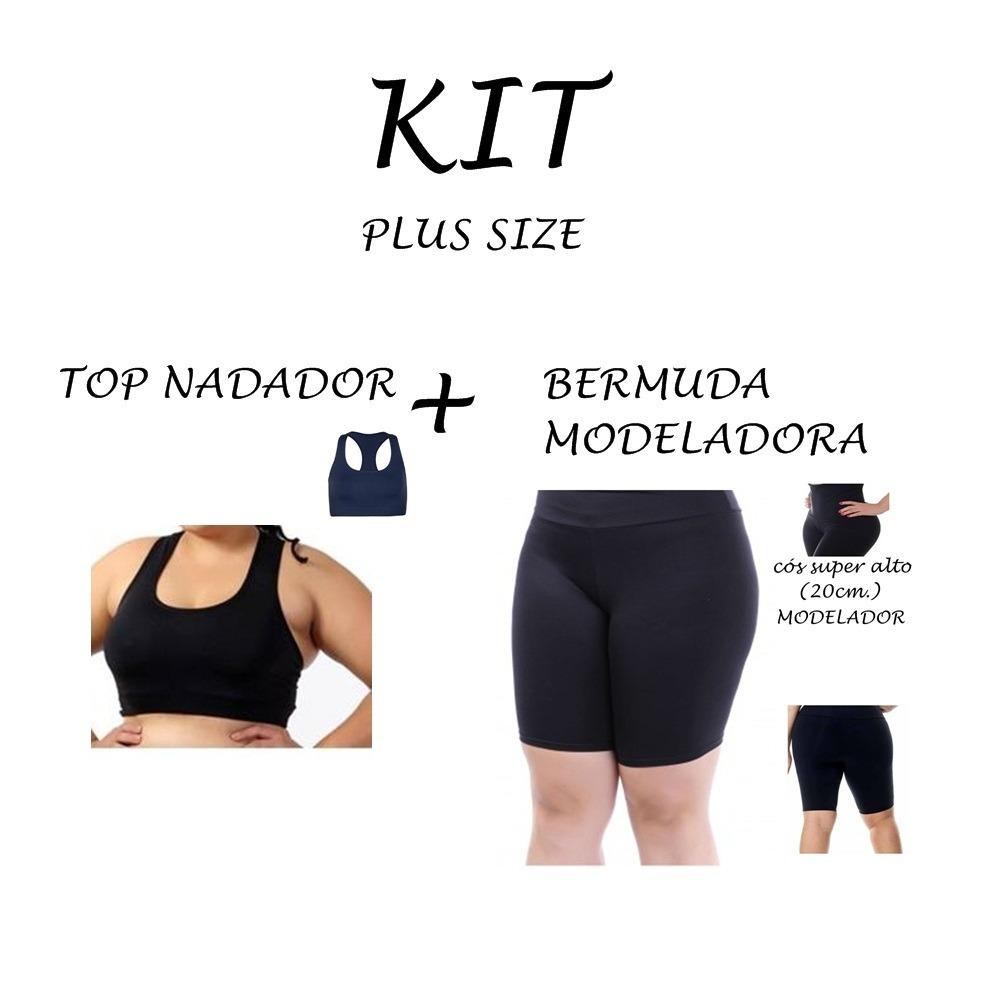 eb1e3b6eb4db Kit 1 Bermuda + 1 Top Plus Size Em Suplex Poliamida - R$ 129,90 em ...