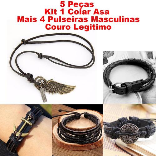 kit 1 colar asa mais 4 pulseiras masculinas couro legitimo