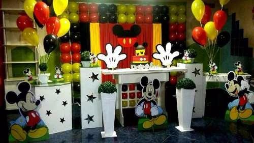 kit 1 mickey chão 80cm e 6 displays mesa 22cm decoração mdf