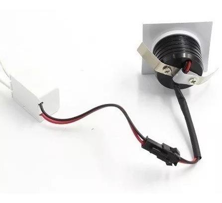 kit 1 mini spot led cob 3w embutir quadrado quente ou frio