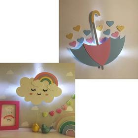 Kit 1 Nuvem Arco Íris + 1 Guarda Chuva De Amor Led Decoração