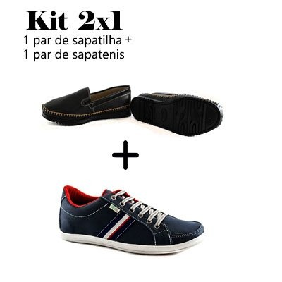 c856e0248 Kit 1 Par Sapatenis + 1 Par Sapatilha Masculino Barato - R$ 99,90 em ...