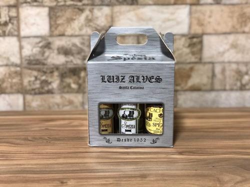 kit 1 para presente com 6 miniaturas de cachaça spézia 50ml