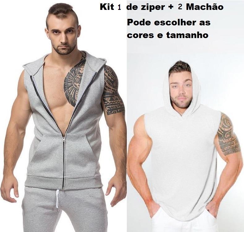 Kit 1 Regatas Com Capuz Ziper Bolso Canguru + 2 Machão Capuz - R ... 27608d19c98