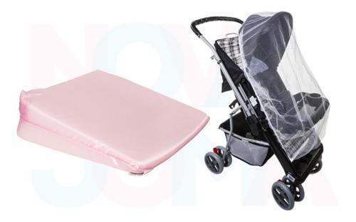 kit 1 travesseiro anti-refluxo e 1 mosquiteiro de carrinho