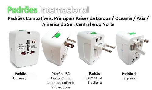 kit 10 adaptador tomada universal internacional eua europa