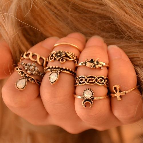 kit 10 anel falange mid dourado ou prateado manicure pandora
