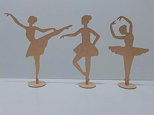 kit 10 bailarina 25cm centro de mesa mdf cru lembrancinha