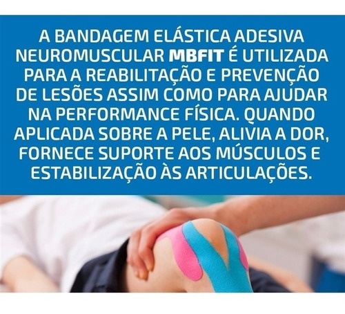 kit 10 bandagem elástica 5m - fita kinesio tape fisioterapia