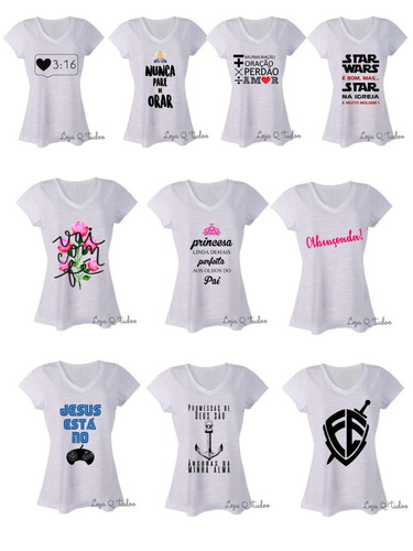 kit 10 blusas feminina gola v gospel roupas atacado revenda