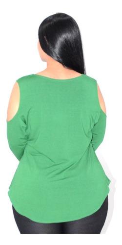 kit 10 blusas feminina manga longa ombro decotado - atacado