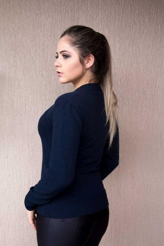 kit 10 blusas femininas básica sueter gola v de tricot