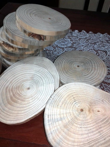 kit 10 bolachas madeira tronco casamento bandeja tábua 22cm