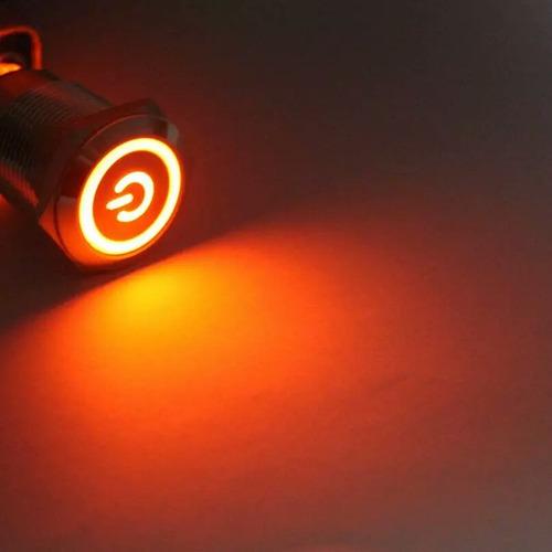 kit 10 botões inox com trava led vermelho 19mm