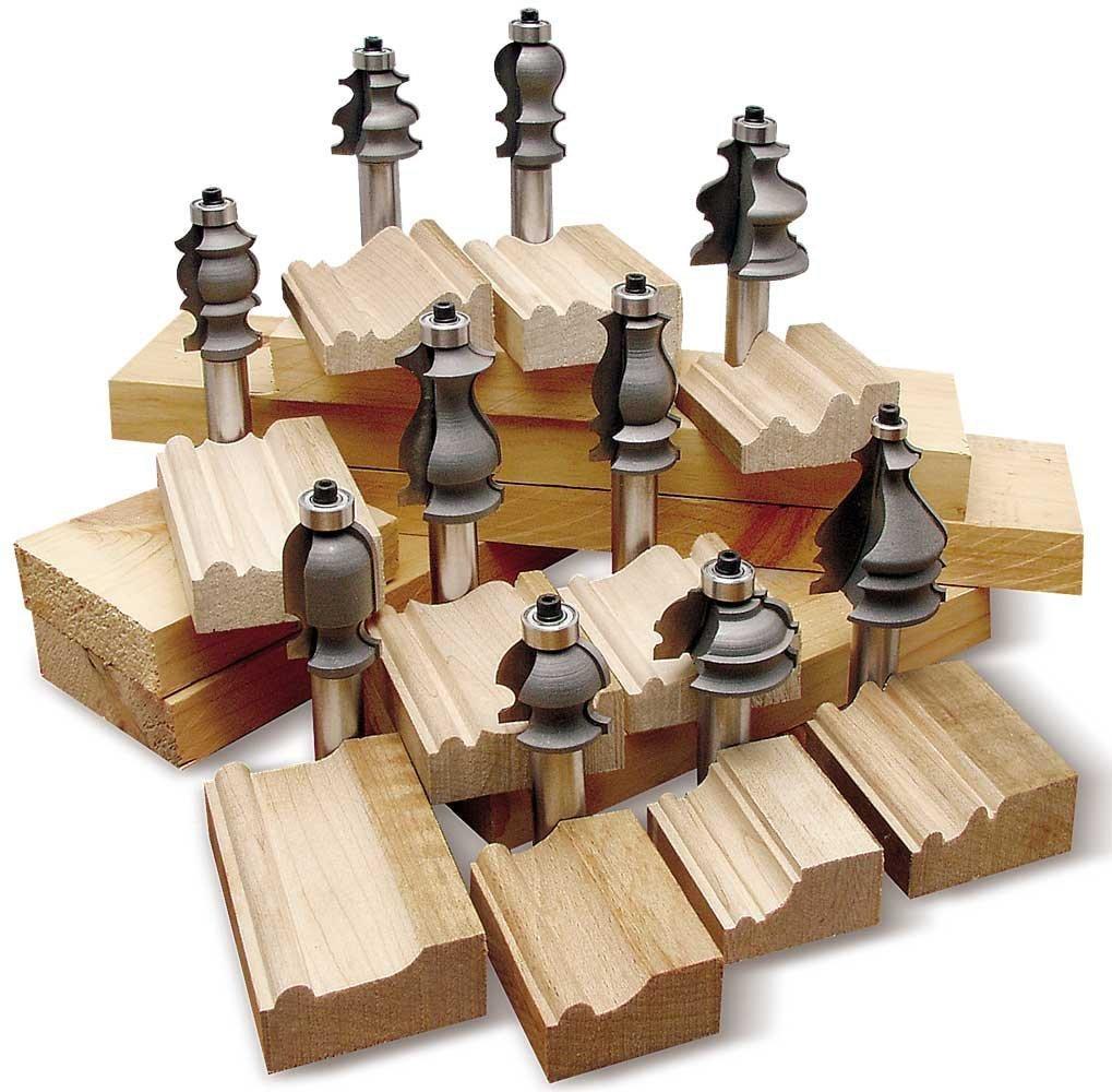 Kit 10 brocas fresas puntas para molduras de madera for Molduras de madera
