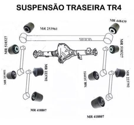 kit 10 buchas suspensão traseira mitsubishi pajero tr4