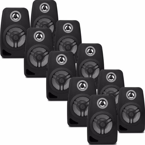 kit 10 caixa som acústica c/ suporte som ambiente 55w orion