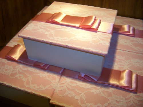 kit 10 caixas mdf renda