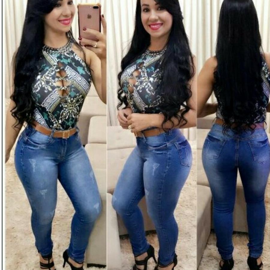 1f1211a83 Kit 10 Calça Jeans Feminina Cós Alto Promo Grátis 10 Cintos - R  389 ...
