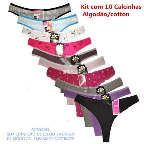 af28a72c5 Calcinha Fio Duplo Algodão.kit Com 10 Calcinhas Sortidas - Moda ...