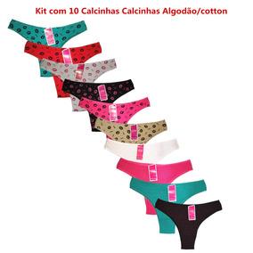 ba30677a3 Calcinha Fio Duplo Algodão.kit Com 10 Calcinhas Sortidas. - Lingerie ...