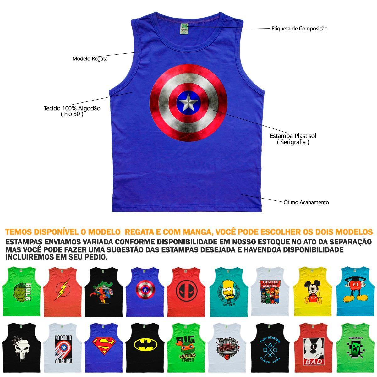 kit 10 camisa camiseta regata juvenil infantil super heroes. Carregando zoom . 79dd9d19d7a