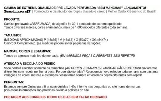 Kit 10 Camisa Masculina Marcas Grife Famosas Fio30.1 Algodão - R ... 9f5273fb7d984
