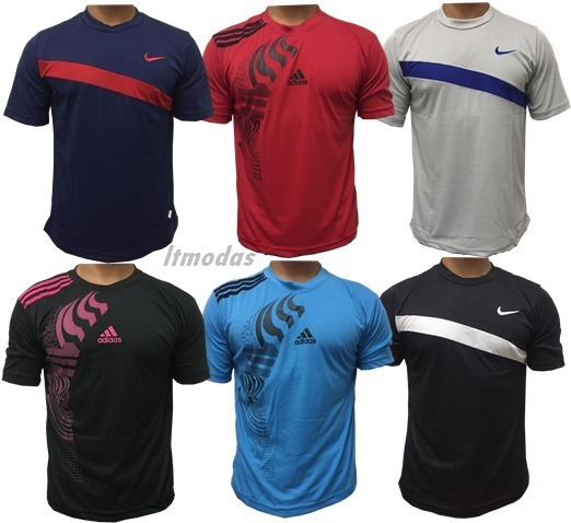 Kit 10 Camisa Masculina Poliester Fitness Academia Esportes - R  158 ... 3cb42ad890b01