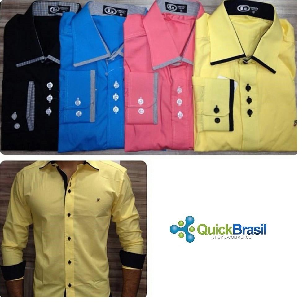 kit 10 camisa masculina social slim atacado revenda r    Carregando zoom. 83d3aa9e61