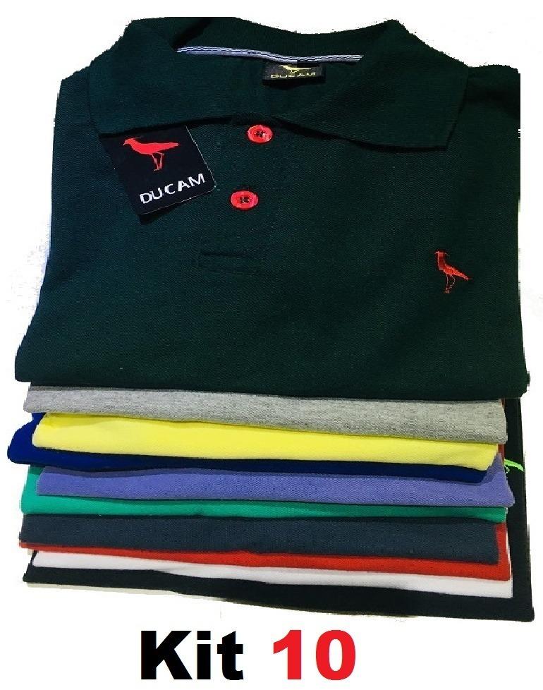 Kit 10 Camisa Polo Masculina  Frete Grátis  Atacado - R  186 0dd30f5395c18