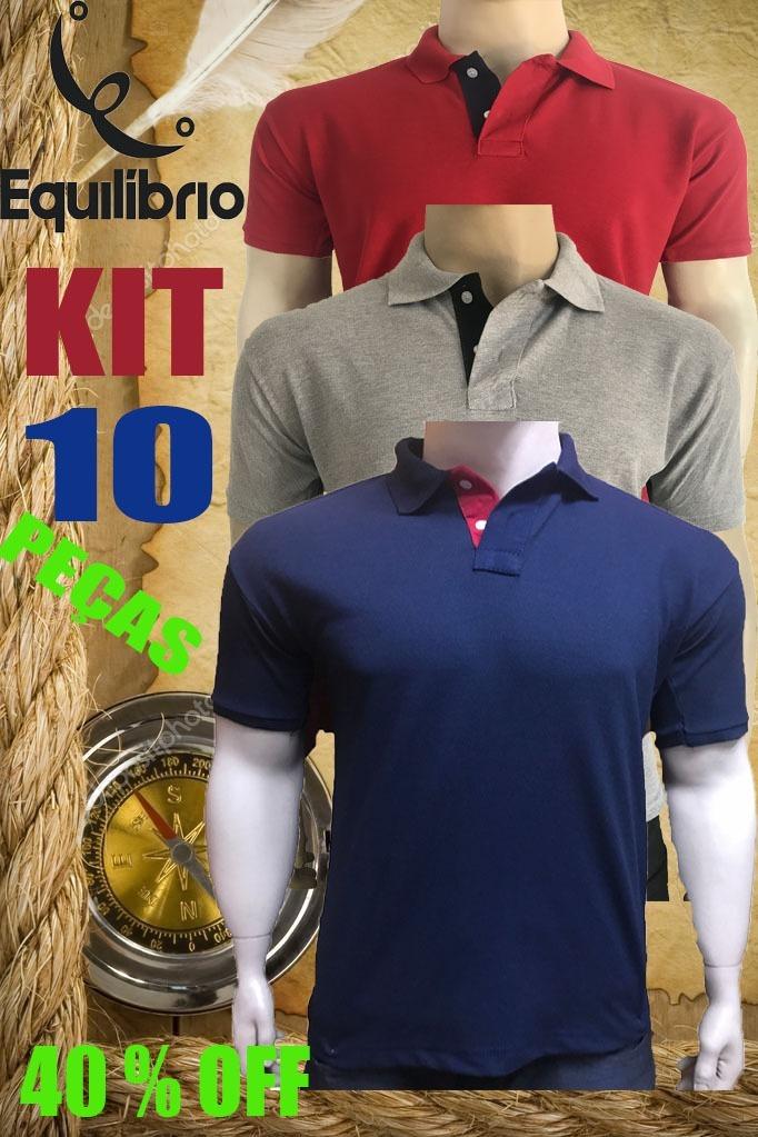 Kit 10 Camisa Polo Masculina  Frete Grátis  Atacado Revenda. - R ... 391a96f8aa389