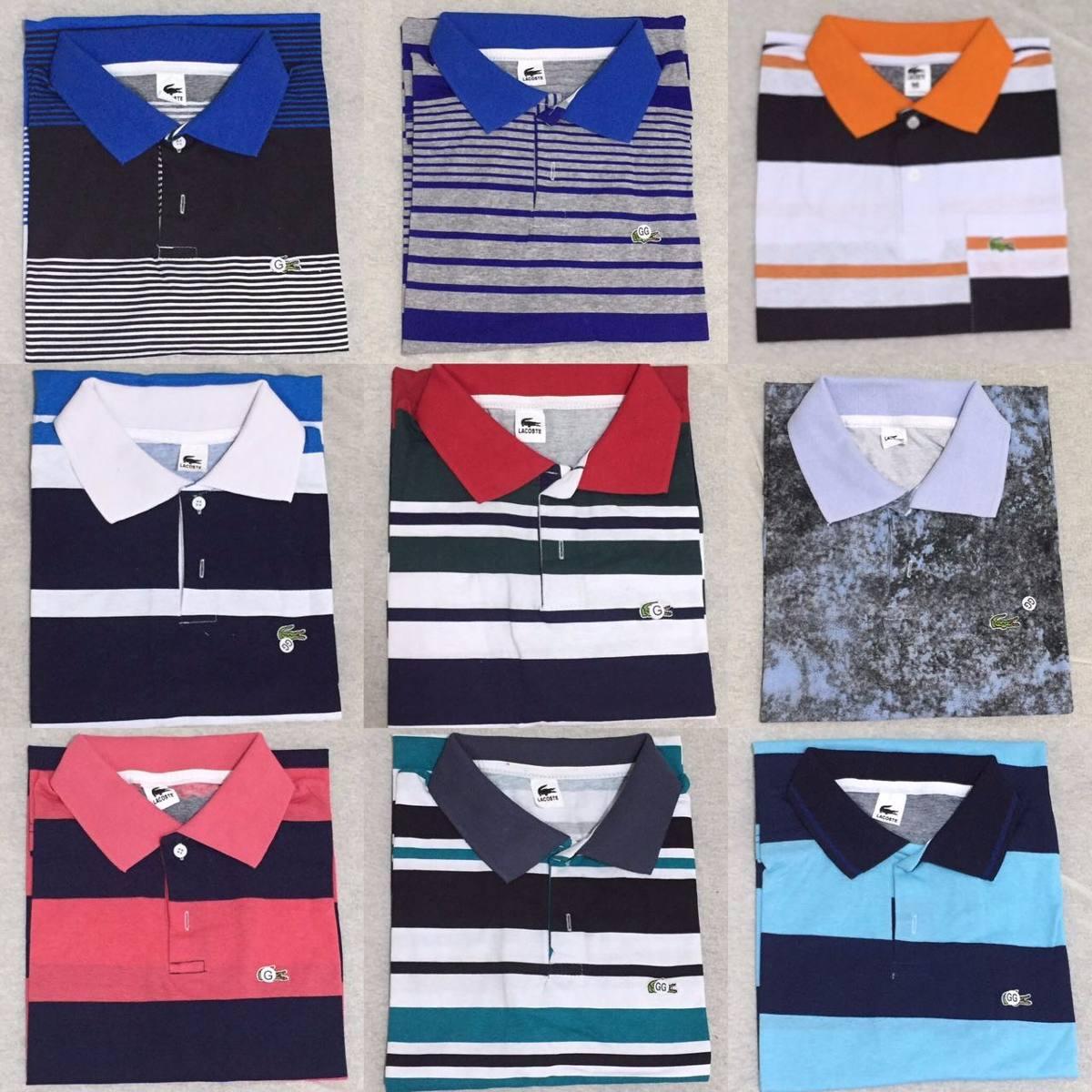 20e5998f854 kit 10 camisa polo masculina lacoste listrada. Carregando zoom.