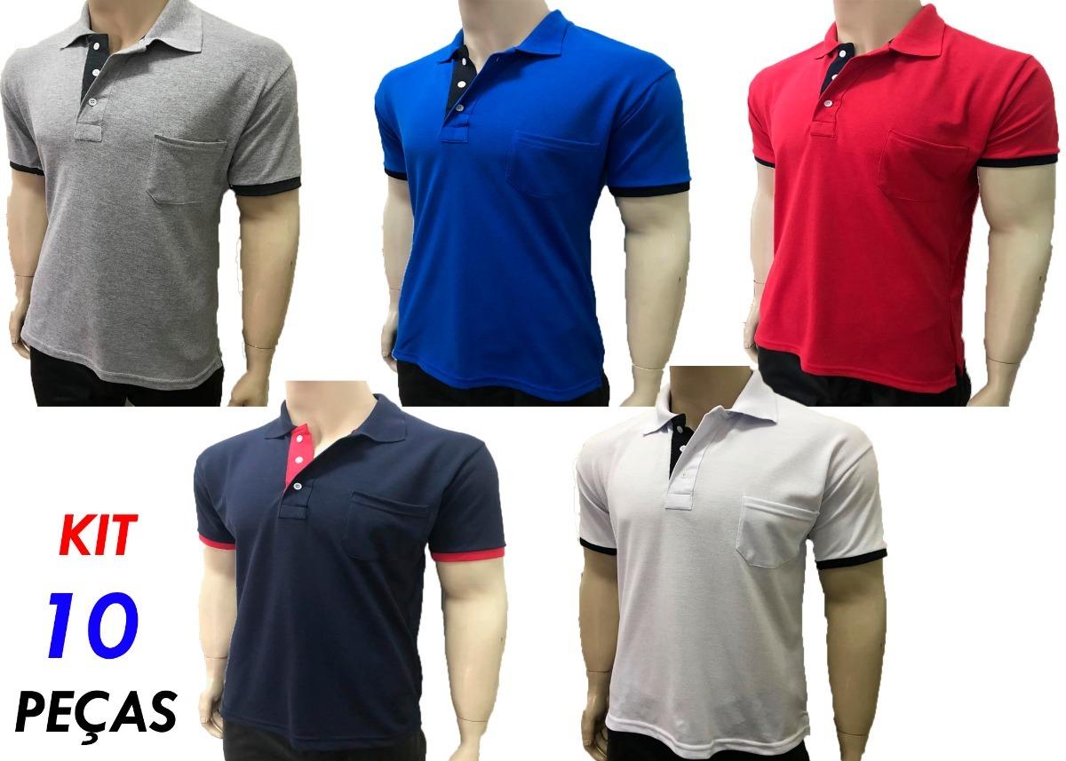 0b8ce70d37 kit 10 camisas gola polo com bolso 3 botoes basicas uniforme. Carregando  zoom.