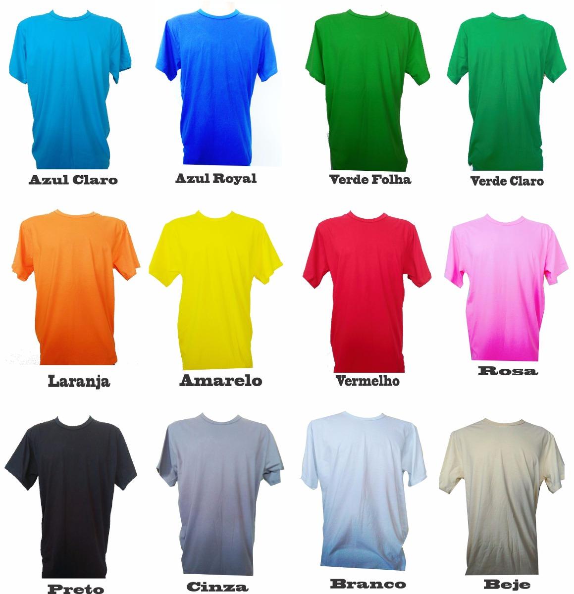 Kit 10 Camisas Lisa Malha 30 100% Algodão - Atacado Colorida - R ... f7eaeb3c5a8