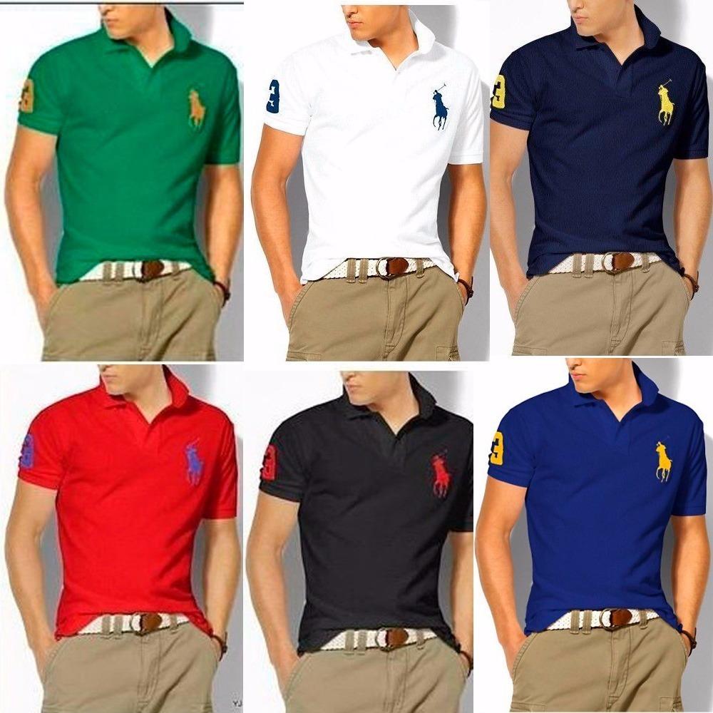 134fd35a41 Kit 10 Camisas Polo Luxo Camisetas Masculinas Atacado - R  180