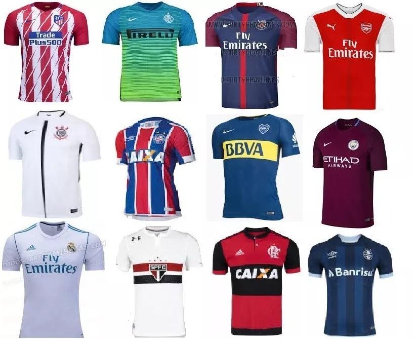 Kit 10 Camisas Time Futebol Nacional Europeu Seleção Atacado - R ... ad15693645b17