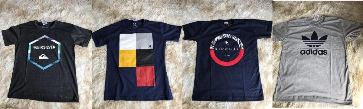 58f6a1c07c Kit 10 Camiseta Camisa Masculina Estampada De Marca Famosas. - R ...