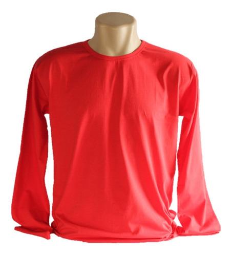 kit 10 camiseta de malha  manga longa lisa  100% algodão