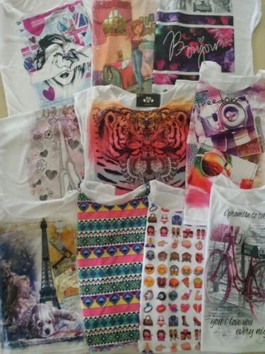 kit 10 camiseta menina feminino desenhos estampas atacado a