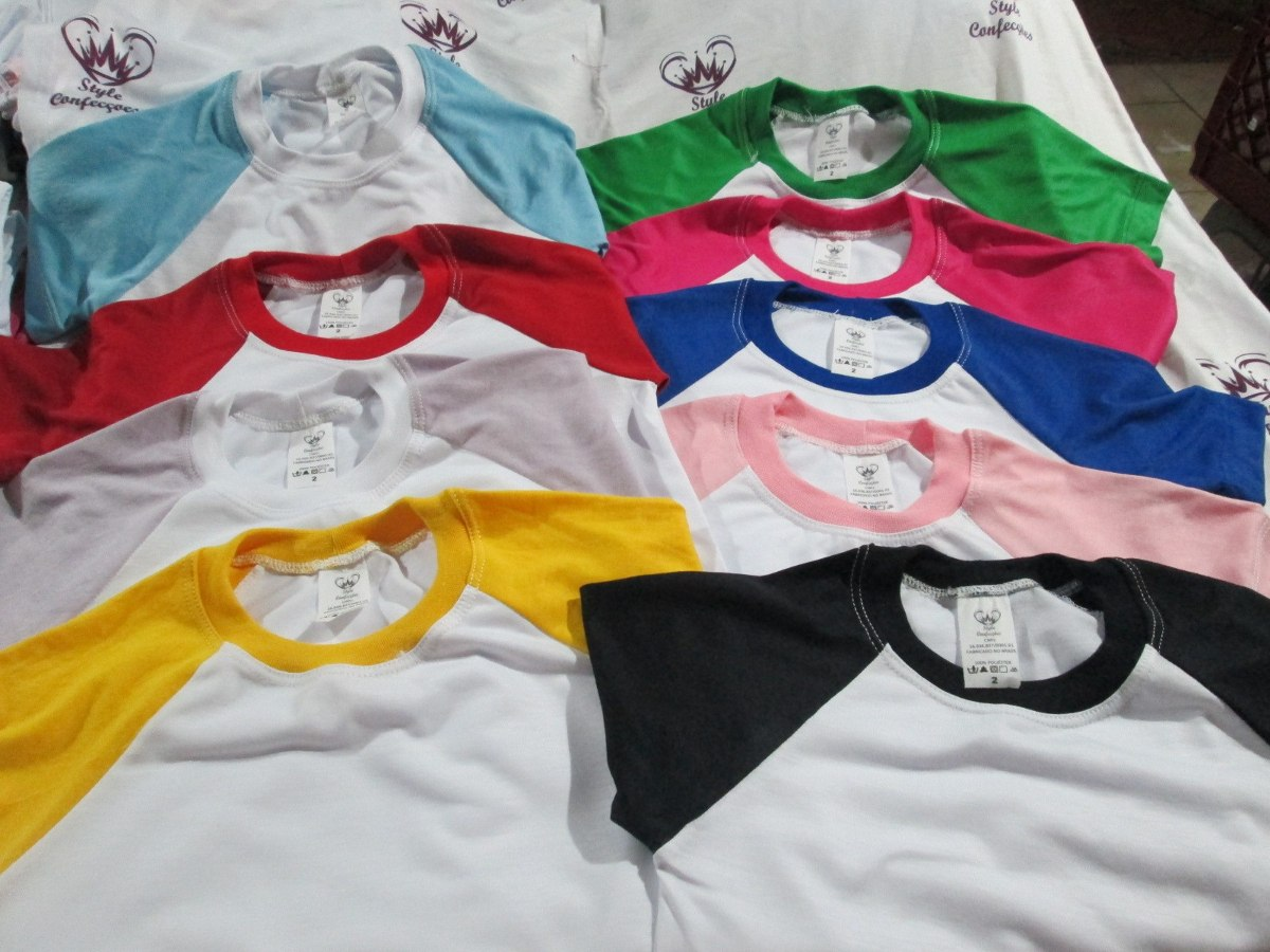 e293625e4b kit 10 camiseta ragla p  sublimação mangas colorida infantil. Carregando  zoom.